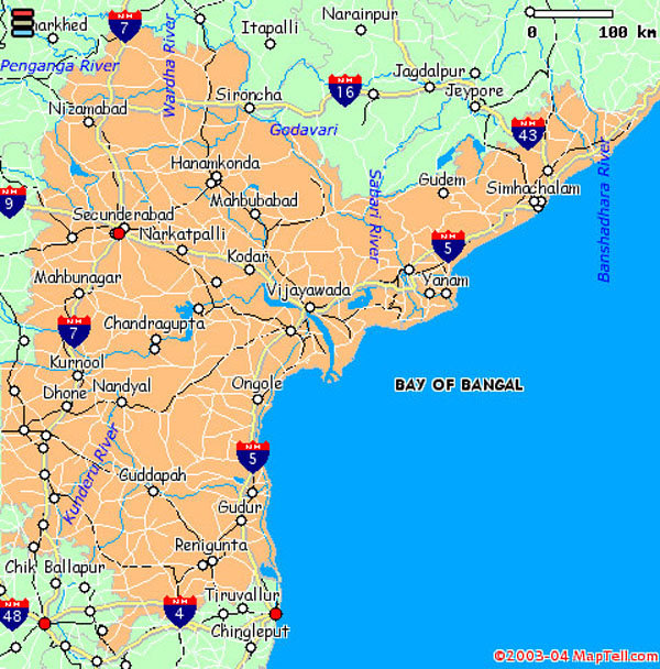 Andhra pradesh map with cities – South India Map With Tourist Places